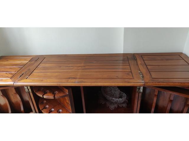 Teakwood Bar with folding top - 3/4