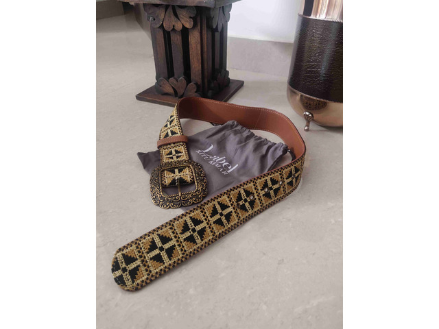 Label Ritu Kumar Tan Vintage Belt - 1/5