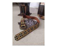 Label Ritu Kumar Tan Vintage Belt - Image 1/5