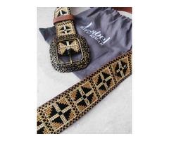 Label Ritu Kumar Tan Vintage Belt - Image 2/5