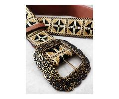 Label Ritu Kumar Tan Vintage Belt - Image 4/5