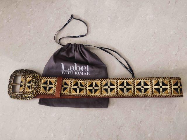 Label Ritu Kumar Tan Vintage Belt - 5/5