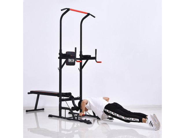 HOMCOM Power Tower Station for Home Gym Workout Equipment With Sit Up Bench - 1/3