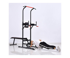 HOMCOM Power Tower Station for Home Gym Workout Equipment With Sit Up Bench - Image 1/3