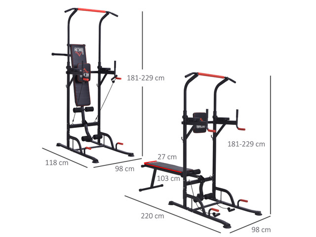 HOMCOM Power Tower Station for Home Gym Workout Equipment With Sit Up Bench - 2/3