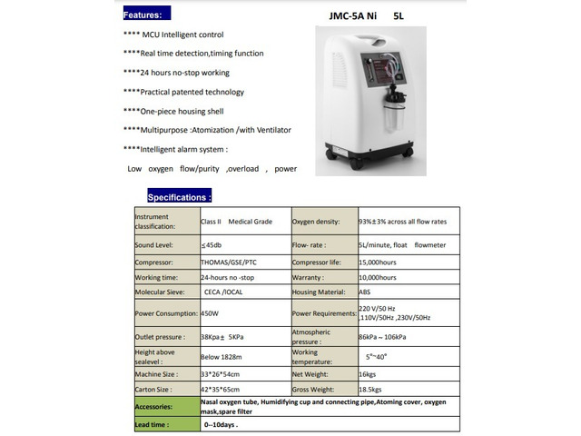 Oxygen Concentrator at 50k with 90% purity quality - 1/1