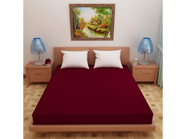Lithara Waterproof Terry Cotton Fitted Single Bed Mattress Protector with Elastic Strap Maroon - 1/1
